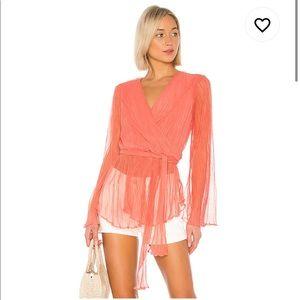 House of Harlow 1960 x Revolve meriem blouse peach